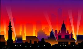 Stad bij Nacht Vector Illustratie