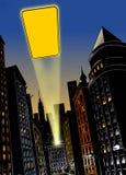 Stad bij nacht met flits van licht in de hemel stock illustratie