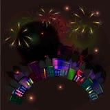 Stad bij nacht met vuurwerk Royalty-vrije Stock Foto's