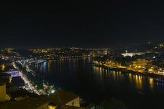 Stad bij nacht, panoramische scène Royalty-vrije Stock Afbeelding