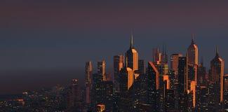 Stad bij Schemer Stock Foto's