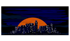 Stad bij zonsondergang Royalty-vrije Stock Fotografie