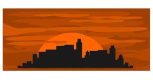 Stad bij zonsondergang Royalty-vrije Stock Afbeelding