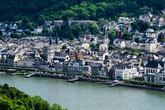 Stad Boppard på Rhen i Tyskland royaltyfri fotografi