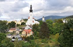 Stad Branna, Tjeckien, Europa arkivfoto
