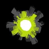 Stad in cirkel met groen. stock illustratie