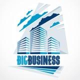 Stad de bouw bedrijfs financieel bureau vectorontwerp Futuristische architectuurillustratie Het bureaucentrum van de onroerende g royalty-vrije illustratie