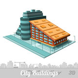 stad de bouw van geïsoleerd hotel op wit Royalty-vrije Stock Foto