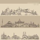 Stad de gegraveerde illustratie van vastgesteld New York, Berlijn, Barcelona wijnoogst Royalty-vrije Stock Foto