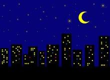 Stad in de nacht Stock Foto's