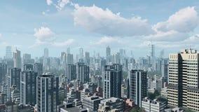 Stad de stad in en de wolkenhemel van de tijdtijdspanne 4K stock video