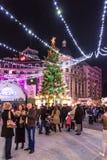 Stad de Van de binnenstad van Boekarest van kerstboomdecoratie Royalty-vrije Stock Foto's