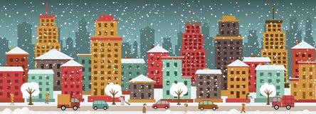 Stad in de winterdagen Stock Afbeeldingen