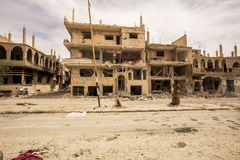 Stad dichtbij Palmyra in Syrië stock foto