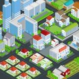 Stad die onroerende goederenhuis en cityscape architectuur bouwen stock illustratie
