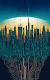 Stad direktanslutet Abstrakt futuristisk digital stad, högteknologiskt informationsbegrepp royaltyfri illustrationer