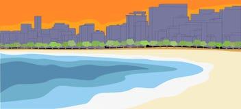 Stad door het strand Royalty-vrije Stock Afbeeldingen