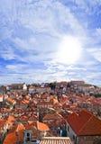 Stad Dubrovnik i Kroatien på solnedgången Fotografering för Bildbyråer