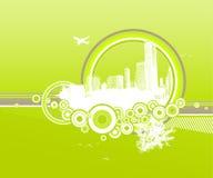 Stad en aard met cirkels stock illustratie