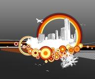 Stad en aard met cirkels royalty-vrije illustratie