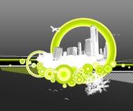 Stad en aard met cirkels. royalty-vrije illustratie