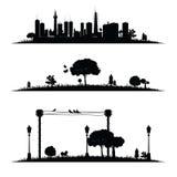 Stad en aard zwarte vector Stock Afbeeldingen