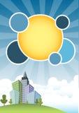 Stad en blauwe hemel royalty-vrije illustratie
