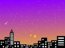 Stad en de hemelachtergrond van het astronomielandschap Royalty-vrije Stock Afbeeldingen