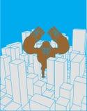 Stad en gorilla Abstract Horizon en monster Industrieel land Royalty-vrije Stock Foto