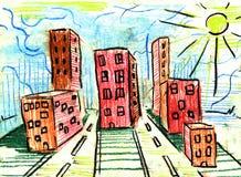 Stad en koepel en tekening en architectuur, Stock Afbeeldingen