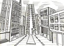 Stad en koepel en tekening en architectuur, Royalty-vrije Stock Afbeelding