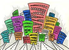 Stad en koepel en tekening en architectuur Stock Afbeeldingen