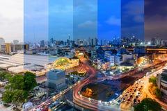 Stad en onduidelijk beeld het licht van de verkeersauto in verschillende schaduw in verschillende tijd Stock Afbeeldingen