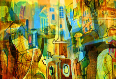 Stad en samenvatting en tekening en architectuur Stock Foto