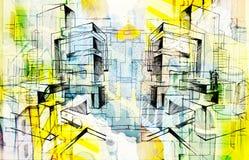 Stad en samenvatting en tekening en architectuur Royalty-vrije Stock Afbeeldingen