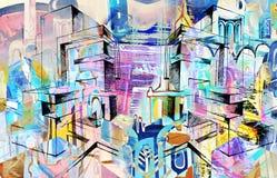 Stad en samenvatting en tekening en architectuur Stock Fotografie