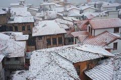 Stad en sneeuwval royalty-vrije stock foto's