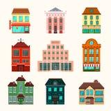 Stad en stads de reeks van het gebouwenpictogram Stock Fotografie