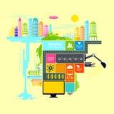 Stad en Stads Vectorillustratie Stock Afbeelding