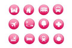 Stad en toeristische kaartpictogrammen Stock Afbeelding