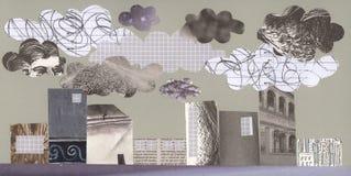 Stad en verontreiniging - kunstwerk Stock Afbeeldingen