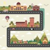 Stad en voorstadstraataffiche Royalty-vrije Stock Afbeelding