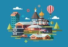 Stad färgrik illustration royaltyfri illustrationer