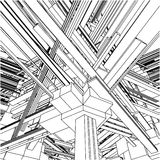 stad för 153 stads- vektor för abstrakt byggnadskaosar Royaltyfria Foton