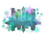 Stad för abstrakt begreppblommaslut Arkivbild