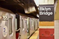 Stad för Brooklyn bro Hall Subway Station - New York City arkivfoto
