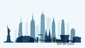 Stad för illustration för vektor för New York horisontbyggnad royaltyfri illustrationer
