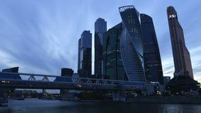 Stad för Moskva för Moskvaaffärsmitt, skyskrapatimelapsefotografi stock video