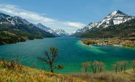 Stad för nationalpark för Waterton glaciärUNESCO Arkivfoton