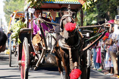 Stad för nganjuk för kultur för kapacitetsårsdagkarneval, östliga Jav arkivbilder
